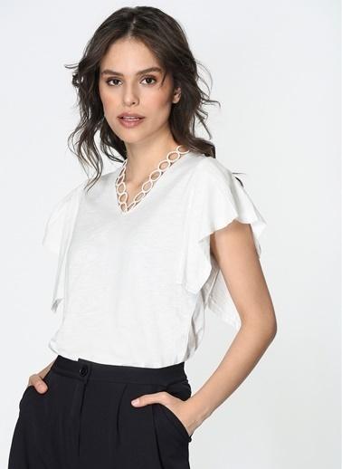 Loves You V Yaka Halka Güpürlü %100 Cotton Bluz Ekru